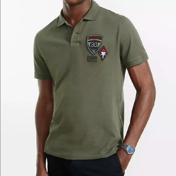 09839044 Express Shirts | Mens Army Green Polo Patch Pique Military | Poshmark